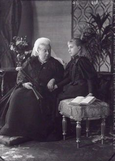 QUEEN VICTORIA(1819-1901) WITH HER GRANDDAUGHTER, ALIX OF HESSE,   who grew up to be Tsarina Alexandra Feodrovna of Russia (         -1918) - em: Queen Victoria