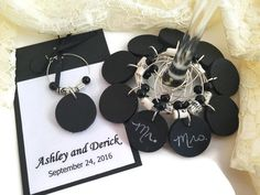Music Wedding Favors, Chalkboard Wine Charms with Sheet Music Paper Beads, Music Themed Wedding Favors, Music Wedding Wine Glass Tags by AtHomeWithWords on Etsy https://www.etsy.com/listing/451799022/music-wedding-favors-chalkboard-wine