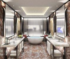Bathroom rendering for Four Seasons Hotel Guangzhou, designed by HBA/Hirsch Bedner Associates.