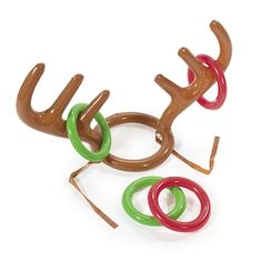 You'll have fun getting a handle on this Christmas party game. The Reindeer Antler Ring Toss Game gives a holiday helping hand to the carnival classic. 15-inch, inflatable antlers rest on a round base                                                                                                                                                                                 More