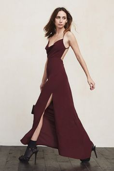 You should probably leave now. As in, this gown is just as impressive from the back as it is from the front. The Augustine Dress is a ghost crepe long dress with a cowl neckline, fitted waist and strappy open back. https://www.thereformation.com/products/augustine-dress-velvet-berry?utm_source=pinterest&utm_medium=organic&utm_campaign=PinterestOwnedPins