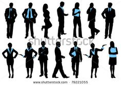 stock vector : illustration of set of silhouette of business people on isolated background