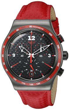 Swatch Men's YVM401 Irony Analog Display Swiss Quartz Red Watch