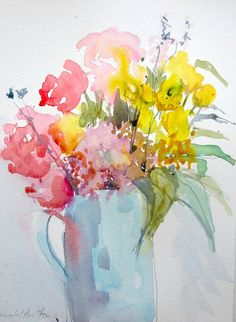 Original Watercolour Painting - Cut Flowers - Signed Annabel Burton