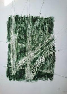Monotypia farbą olejną na papierze A3 pt. Cienie drzew  OIL MONOTYPE ON PAPER