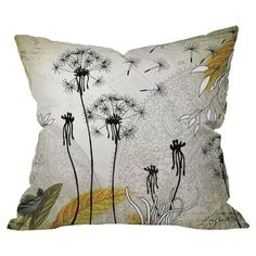 Pillow with a dandelion motif. Made in the USA by DENY Designs.   Product: PillowConstruction Material: Polyest...