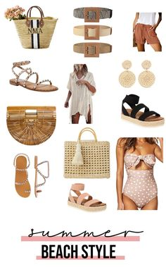 The best budget friendly summer beach style ideas from Amazon! Shop swimsuits, handbags, sandals and accessories and get your fashion beach ready! #summerfashion #summerstyle #beachfashion #beachstyle #fashionblogger