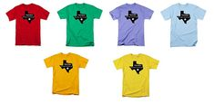 Texas T-shirt, State Typography Design, Men or Women's Clothing, Uni-Sex Fashion, Multi Colors Available, Blue Red Yellow Orange, Purple