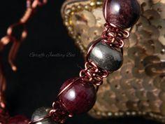 Garnet and Pyrite Wirework Bracelet  Wire by GiraffeJewelleryBox