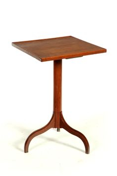 Shaker Candlestand Attributed to Union Village, Ohio  19th Century Walnut Square top with beaded edge and a tripod base  Garths