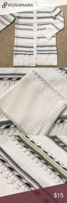 "Pastel & Cream Merona Cardigan Merona Cardigan in spring striped colors.  Button down. Crew collar. Full length sleeve. Measures 23.5"" shoulder to hem.  Sleeves 19"".  16"" across chest. Merona Sweaters Cardigans"