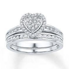 $429 Diamond Bridal Set 1/5 ct tw Round-cut 10K White Gold