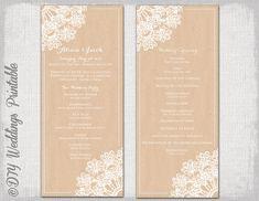 "Wedding program template - Rustic wedding program -DIY ""Lace Doily"" boho wedding program printable -Editable instant download on Etsy, $8.00"