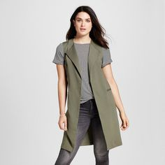 Women's Long Vest with Pockets Olive Green M - Mossimo