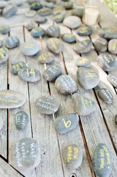 Get yourself some pretty rocks and have guest sign them. i want this as my wedding guest book something different and unique then i can put them in a bowl and use it as a centerpiece for my home and always my guest and love ones. Or a glass vase or a end stand with glass plate over top rocks!    -LOVE THIS IDEA!-this is a good idea for any party celebration.