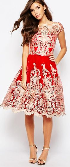Beautifully embellished fit & flare dress by Chi Chi London