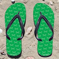 Crew Crossed Oars Pattern on Green Flip Flops - Kick back after a race with these great flip flops! Fun and functional flip flops for all rowers and fans.