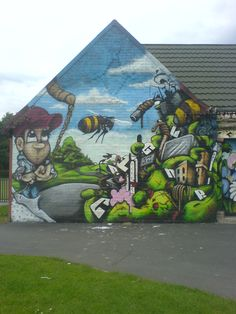 Park building wall in Levenshulme, Manchester Manchester, Aquarium, Street Art, Park, Building, Artwork, Painting, Goldfish Bowl, Work Of Art