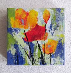 Poppy Original Contemporary Palette Knife Painting 6x6 inches square small acrylic art by Anne Thouthip Free Shipping US Address