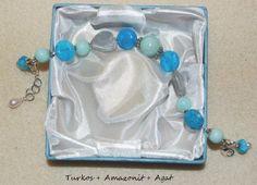 """Armband """"Heart of Blues"""" med stenpärlor"""