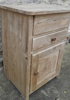 UNUSUAL OLD FARMHOUSE PINE CUPBOARD DRAWER WITH LID VINTAGE SHABBY CHIC PROJECT