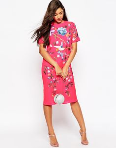 Image 1 of ASOS Bird And Floral Embroidered Midi Shift Dress