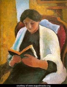 Woman Reading in Red Armchair (Lesende Frau im roten Sessel) - August Macke - www.augustmacke.org