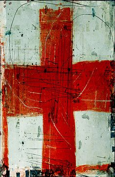 """tetedecaboche:"""" h ¬"""" linda vachon / tête de caboche"""" """" Illustrations, Illustration Art, Sign Of The Cross, Red Cross, Cross Art, Art Abstrait, Art Graphique, Mixed Media Art, Painting & Drawing"""