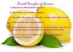 Health benefits of Lemons & Lemon juice! :) xo