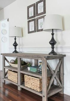 I love me a good console table. One resides in our entryway and the other serves as a sofa table behind our, well, sofa. If you're looking for a piece of furniture that serves a purpose and is also attractive, a con Rustic Furniture, Vintage Furniture, Diy Furniture, Living Furniture, Console Furniture, Ana White Furniture, Entryway Furniture, Urban Furniture, Furniture Removal
