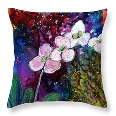 Flowers Throw Pillow featuring the painting White Orchid by Luiza Vizoli Gold Pillows, White Orchids, Pillow Sale, Poplin Fabric, Decorative Throw Pillows, Fine Art America, Flowers, Prints, Painting
