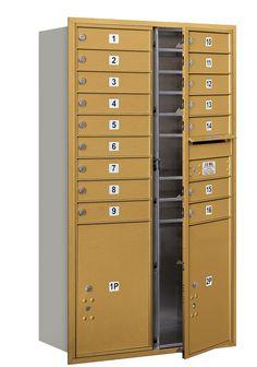 4C Horizontal Mailbox 15 Door High Unit Double Column 16 Doors and 2 Parcel Lockers Front Loading USPS Access