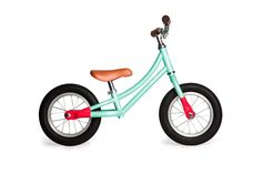 Cute, retro, mint green balance bikes for toddlers