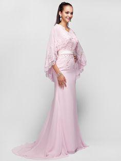 Formal Evening/Prom/Military Ball Dress - Pearl Pink Plus Sizes A-line/Princess V-neck Sweep/Brush Train Chiffon | LightInTheBox