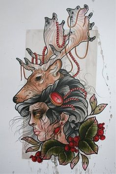 jasmin austin.   (I love love love this, though maybe with a wolf instead of a deer)