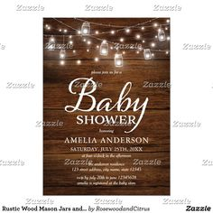 Rustic Wood Mason Jars and Lights Baby Shower