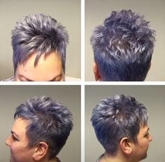 Silver grey metallic - All About Short Shaggy Haircuts, Cute Hairstyles For Short Hair, Pixie Hairstyles, Curly Hair Styles, Purple Grey Hair, Light Purple Hair, Short Hair Styles For Round Faces, Short Hair Cuts For Women, Pelo Pixie
