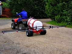 Extra wide quad bike sprayer. ATV quad bike sprayers can be mounted onto an ATV or towed behind the quad bike and come with a spot sprayer. They Spray pesticides, herbicides and fungicides. For more info: http://www.fresh-group.com/sprayer-attachments.html
