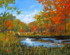 Creek in Autumn FREE SHIPPING por pattyabaker en Etsy