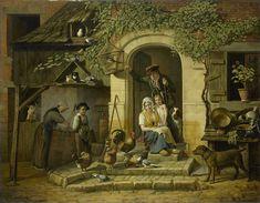 Henri Voordecker | Hunter's Dwelling, Henri Voordecker, 1826 | Jagerswoning. Een familie voor de deur van de woning. Moeder met kind zittend in de deuropening, achter haar een jonge man in jagerskleding. Op de trappen voor het huis lopen kippen en duiven, links van de deur nog meer duiven bij een duiventil. Links staat een meid bij een put, rechts een hond aan een ketting.