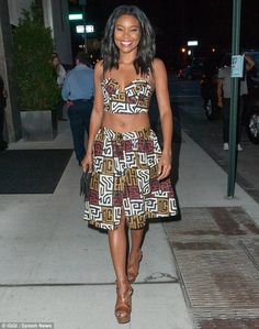 Fashion styles: Gabrielle Union shows off flat tummy in African print…