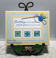 handmade card: Birthday Quilt by kraftyaunt  ... three small stamped quilt blocks ... great sentiment ... blue, yellow, white ... Paper Trey Ink ...