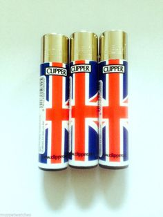 3 X UNION JACK CLIPPER OFFICIAL ORIGINAL LIGHTER - Gas Refillable LIGHTERS