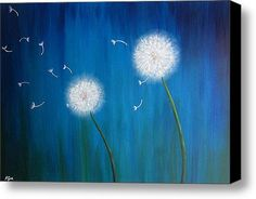 Dandelions At Night Stretched Canvas Print / Canvas Art By Nikolina Gorisek
