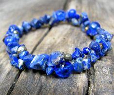 Lapis Lazuli & Pyrite Bracelet Dark Blue Gemstones Bracelet