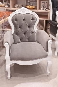 Grey velvet Cannes chair. Only if I don't do tufted, velvet couch.   Maybe black/white stripe couch with this ...