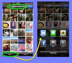 Twee iPhone-schermen.  De eerste toont een pagina met miniaturen met drie geselecteerd.  Tikken op de knop Delen leidt tot de opties voor delen die op het tweede scherm.