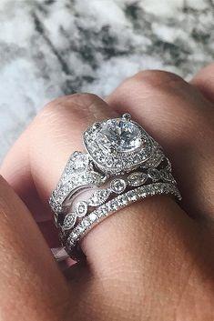 18 Uncommonly  Beautiful Diamond Wedding Rings ❤ diamond wedding rings white gold halo round modern ❤ More on the blog: https://ohsoperfectproposal.com/diamond-wedding-rings/ #WhiteGoldJewellery #Diamondsjewellery #diamondringsmodern