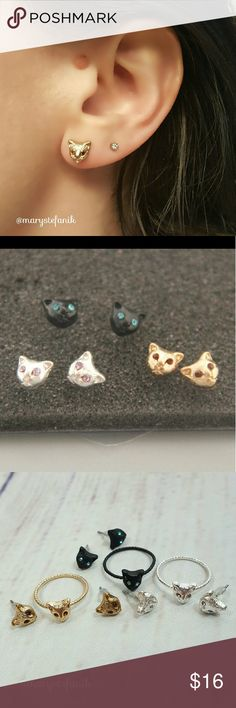 🐱 NWT Gold Cat Face Stud Earrings NWT Gold Cat Face Stud Earrings. Rhinestone and Zinc Alloy. Plastic Backing. Polybagged (no card). Imported.   ***This listing is for one pair of stud earrings in gold. Black and silver also available in a separate listing.*** Mary Stefanik  Jewelry Earrings