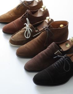 Shoe collection. Wingtip. Cap-toe. Chukka. lace up. boat shoe. deck shoe. slip on. oxford. suede. leather. brown. tan. camel. carmel. chocolate.